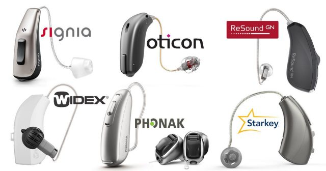 Chart of popular hearing aid brands